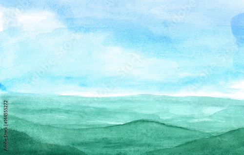 Fotobehang Lichtblauw Mountains in the fog in watercolor