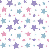 Fototapety pastel colorful star pink blue purple on white background pattern seamless vector