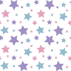 pastel colorful star pink blue purple on white background pattern seamless vector
