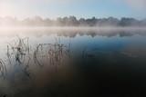 Foggy morning at Oka river. Russia.
