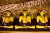 Ceylon, golden statues in buddha  temple