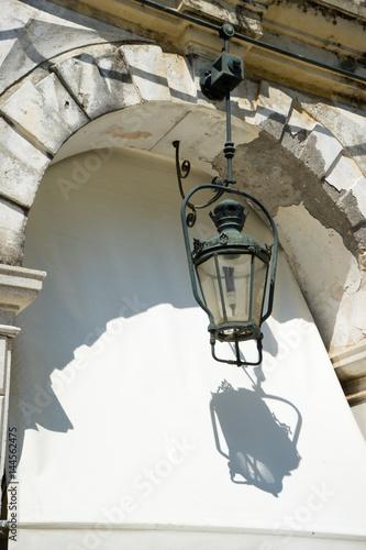 famous lantern Liston square Corfu town Greece