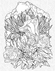 coloring page with a fox