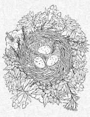 coloring page with a nest and birds eggs