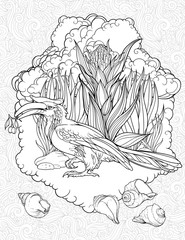 coloring page with hornbill and shells