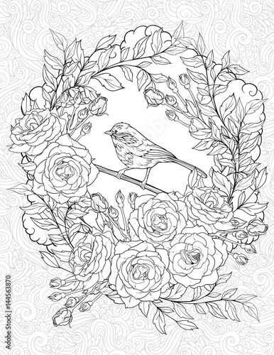 coloring page with a small bird and roses