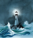 Lighthouse in a stormy sea - 144573835