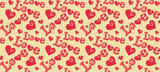 Love, lettering abstract background, seamless pattern, repeating texture, vector image