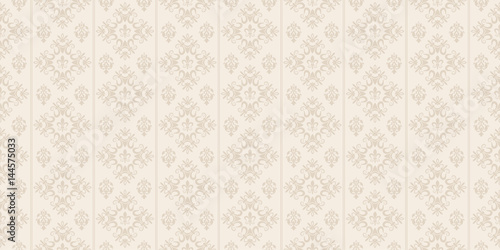 Naklejka Decorative background in classic style, beige color, seamless pattern. Repeating vintage texture pattern. Vector image