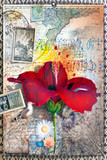 Old fashioned postcard with hibiscus flower,collage and vintage stamps