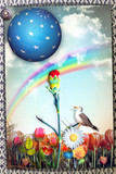 Enchanted meadow with red carnation,dove,starry planet  and magic rainbow