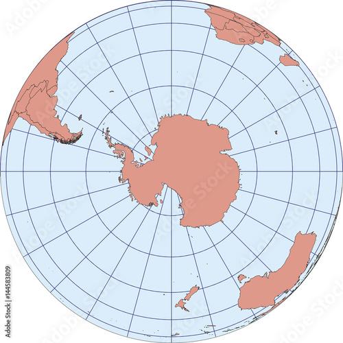 South Pole antarctica earth globe vector map