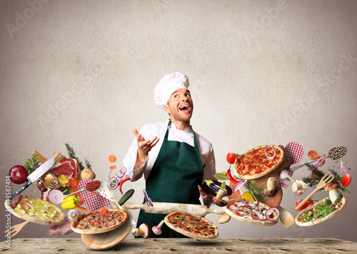 Poster Pizza with different tastes with vegetables, cooking