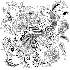 Tropical wild bird and flowers. Coloring book for adult and older children. Coloring page. Outline vector illustration.