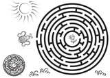 Round black maze game with solution. Bee flying to a flower.  - 144598449