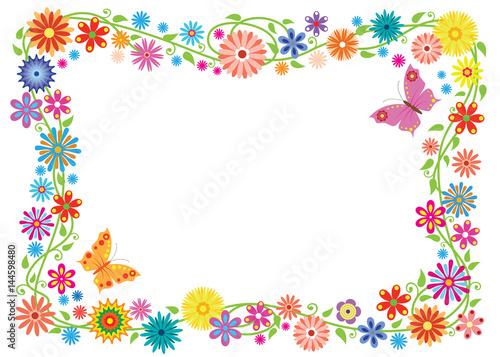 Naklejka Summer frame formed of fancy flowers and butterflies. No background.