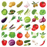 Vegetables icon collection - vector color illustration