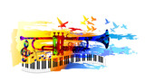 Colorful music background, banner with trumpet, piano and birds - 144601088