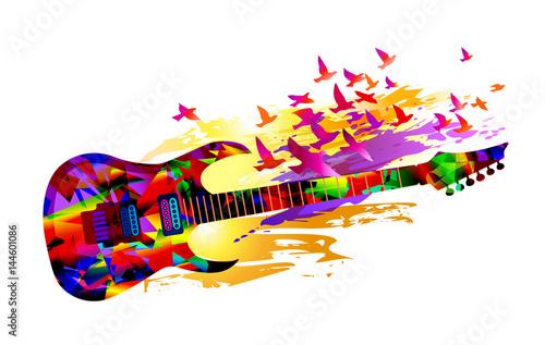 fondo-de-musica-colorida-pancarta-con-guitarra-electrica-y-pajaros