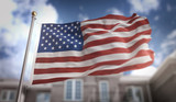 America USA Flag 3D Rendering on Blue Sky Building Background - 144605815