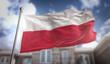Poland Flag 3D Rendering on Blue Sky Building Background - 144611429