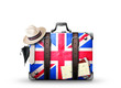roleta: England, vintage suitcase with British flag
