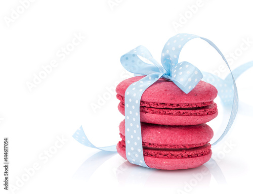 Red macarons with blue ribbon Poster