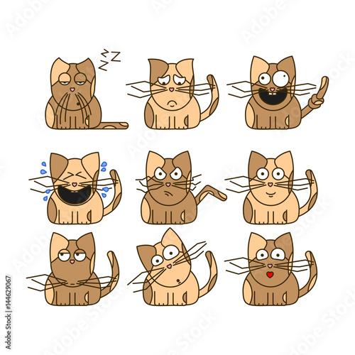 Set of cat emoticons. Cute cat emoji in cartoon style. Flat emoji isolated on white background. - 144629067