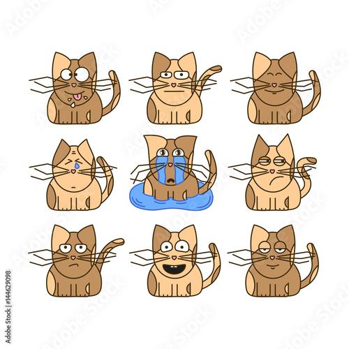 Set of cat emoticons. Cute cat emoji in cartoon style. Flat emoji isolated on white background. - 144629098