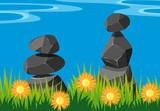 Two stacks of rocks in garden