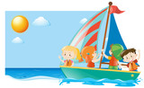 Summer scene with kids sailing