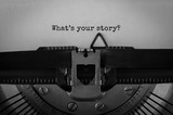 Text What's your story typed on retro typewriter - 144640407