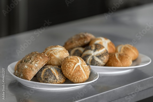 Freshly baked buns in the kitchen