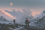 sci-fi concept of astronauts walking to derelict spaceship on alien planet, illustration painting - 144652403