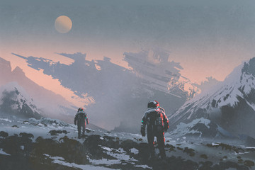 sci-fi concept of astronauts walking to derelict spaceship on alien planet, illustration painting © grandfailure