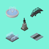 Isometric Architecture Set Of Path, Fountain, Sculpture And Other Vector Objects. Also Includes Path, Way, Sculpture Elements.
