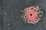 Flowers composition over vintage background