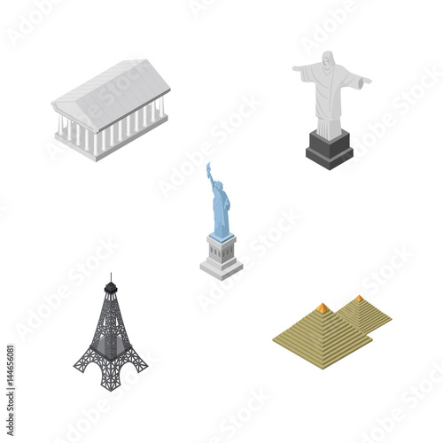 Isometric Cities Set Of New York, Paris, Athens And Other Vector Objects. Also Includes Paris, Eiffel, Monument Elements.