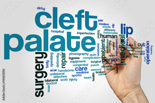 Cleft palate word cloud concept on grey background Poster
