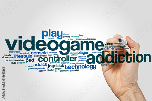 Poster Videogame addiction word cloud