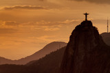 Silhouette of Christ the Reedemer statue, Corcovado, Rio de Janeiro, Brazil