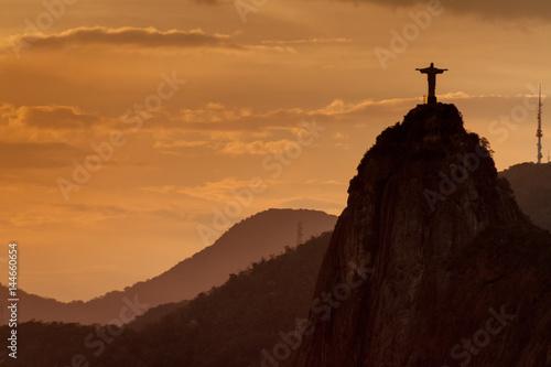 Foto op Canvas Rio de Janeiro Silhouette of Christ the Reedemer statue, Corcovado, Rio de Janeiro, Brazil