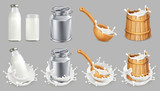 Milk can and splash. Natural dairy products. 3d vector icon set - 144667097