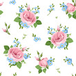 Vector seamless pattern with pink lisianthuses and blue forget-me-not flowers on a white background.