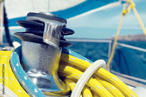 Winch and ropes on a sailboat close up Poster