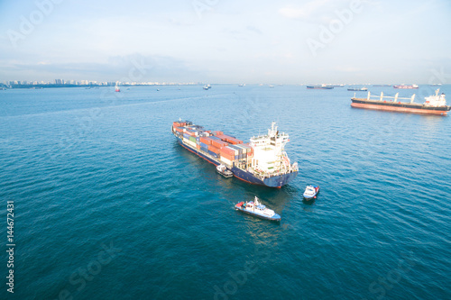 cargo container on tranquil sea