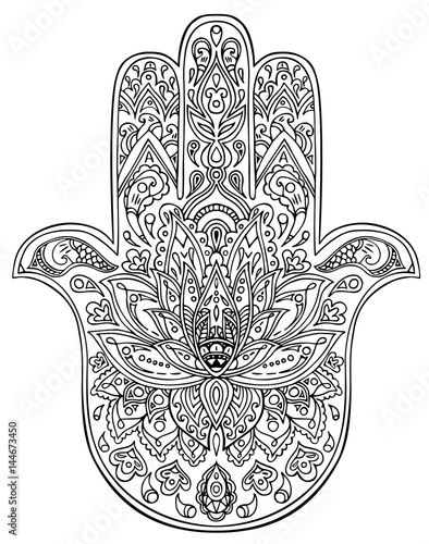 Vector Illustration Indian Hand Drawn Hamsa Symbol Coloring Page In