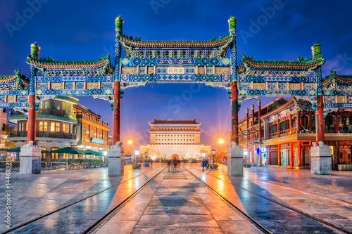 Wall mural Beijing Zhengyang Gate Jianlou in Qianmen street in Beijing city, China
