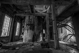 Abandoned factory in black/white