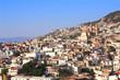View on Taxco de Alarcon city and Santa Prisca Parish Church, Mexico